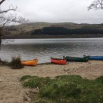 DofE Scotland canoes on the shore of Loch Tay