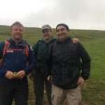 Mike Goude from RockRiver Expeditions with two clients on the third of the three Yorkshire Peaks in the Yorkshire Three Peaks Challenge