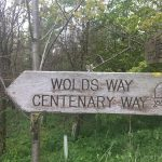 Wooden signpost showing Wolds Way and Centenary Way