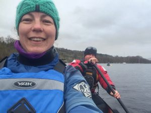 Paula and Michael Goude from RockRiver Expeditions canoeing on Loch Tay