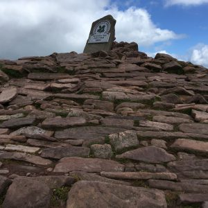 Looking up the cairn to the summit stone of Pen-y-Fan 886m
