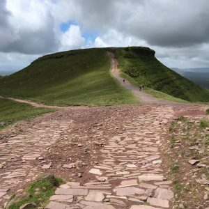 Looking up the path to the summit of Corn Du from Pen-y-Fan. Another path peels off to the left taking the walker the direct route down.