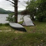 Canoe and MSR Elixir 2 tent on Inchonnachan island on Loch Lomond