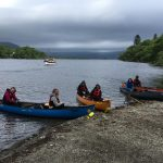 Duke of Edinburgh Award canoeists from Craigholme School on Loch Lomond, Scotland with The Adventure Academy CIC and RockRiver Expeditions