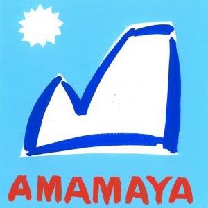 Amamaya Clothing logo including a handrawn image of a mountain, the sun and the word Amamaya