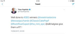 Tweet from Theo Paphitis announcing RockRiver Expeditions as winners of #SBS