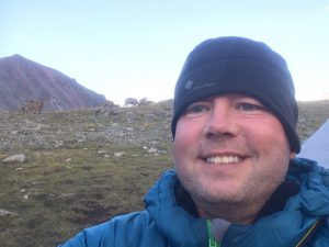 Michael Goude owner of RockRiver Expeditions selfie at the acclimatisation base camp, Elbrus