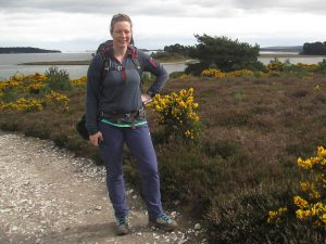 Paula Goude of RockRiver Expediions wears Icebreaker merino hooded top in Dorset