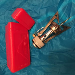MSR Pocket Rocket stove and it's red holder