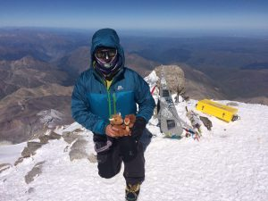 Michael Goude from RockRiver Expeditions on the Summit of Mt Elbrus