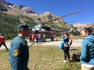Russian military helicopter flies us away from Elbrus