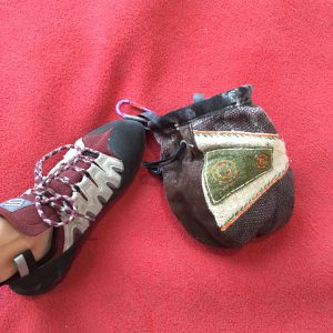 Climbing shoe and chalk bag
