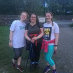Three members of the White Stuff Snappy Yorkshire Three Peaks Challenge team at the finish