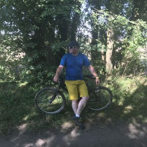 Michael Goude from RockRiver Expeditions goes mountain biking for hill fitness