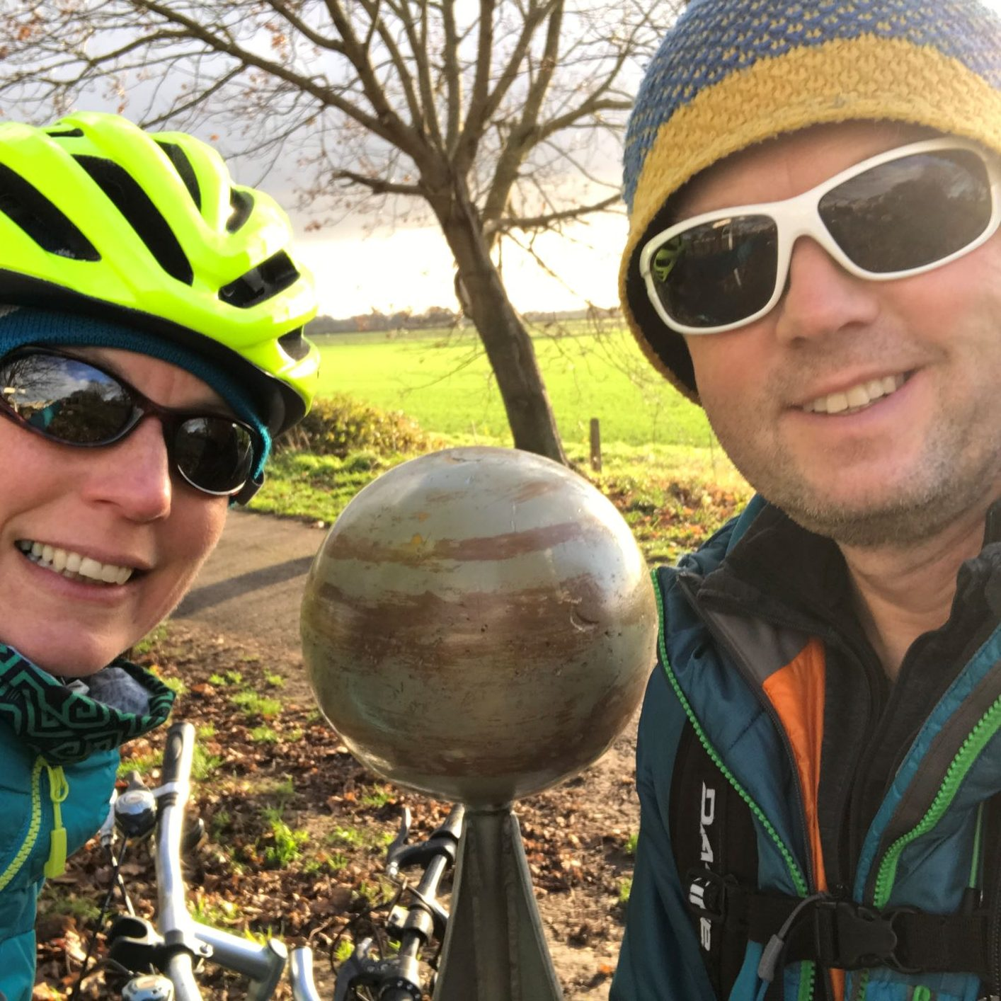 Michael and Paula Goude from RockRiver Expeditions at Jupiter on the Solar System cycle route