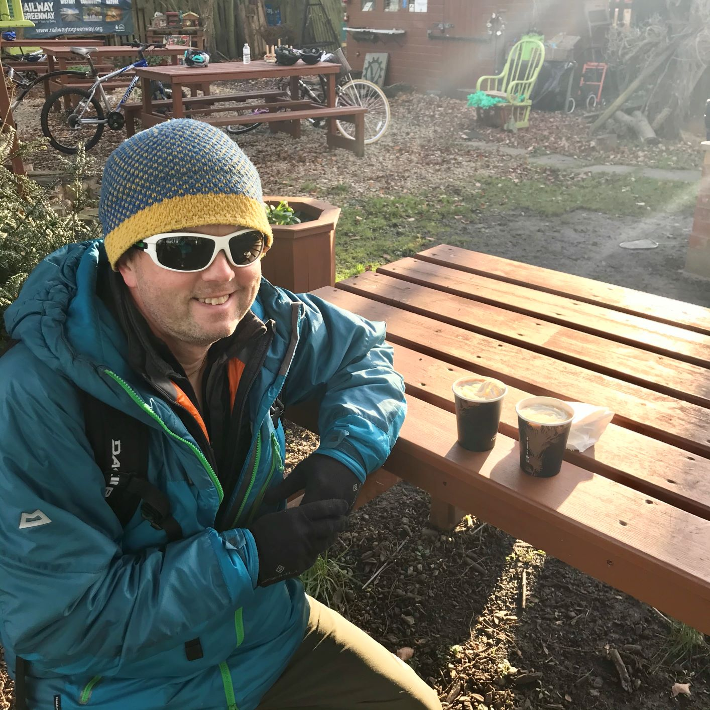 Mike from RockRiver Expeditions warming up with a hot choc at the Saturn Trust Hut